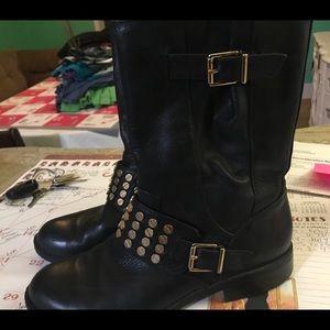 Jessica Simpson women's black stud boots 8 short